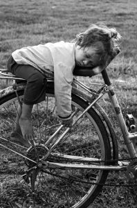 sleeping biker